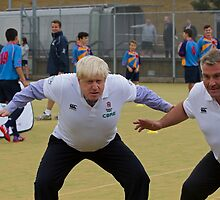 Boris Johnson playing rugby by Keith Larby