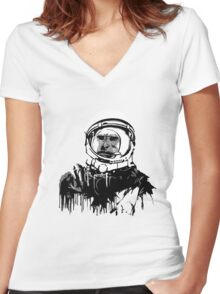 Space Chimp II Women's Fitted V-Neck T-Shirt