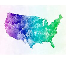 USA map in watercolor cold  Photographic Print