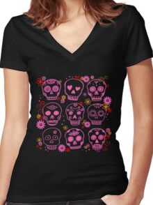 Mexican Pink Skulls Women's Fitted V-Neck T-Shirt