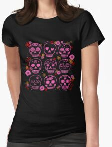 Mexican Pink Skulls Womens Fitted T-Shirt