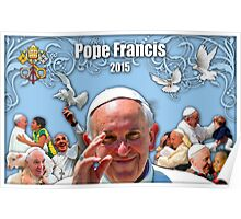 Pope Francis 2015 with blue background 2 Poster