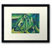Cubist Abstract Of Village Woman Wearing A Headscarf Framed Print
