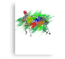Skeletons playing football Canvas Print