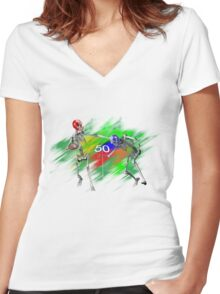Skeletons playing football Women's Fitted V-Neck T-Shirt