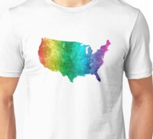 USA map in watercolor rainbow Unisex T-Shirt