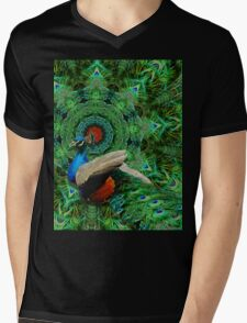 Peacock Feather Frenzy Mens V-Neck T-Shirt