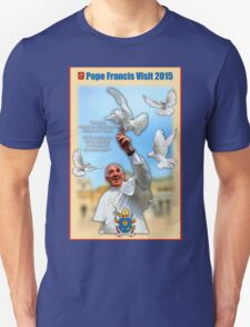 Pope Francis 2015 with doves cream background 1 T-Shirt