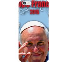 Pope Francis 2015 with blue background 3 iPhone Case/Skin