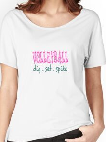 Volleyball Dig Set Spike (pink/green) Women's Relaxed Fit T-Shirt