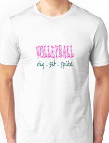 Volleyball Dig Set Spike (pink/green) Unisex T-Shirt