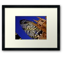 London Gherkin in a Blue Night Framed Print