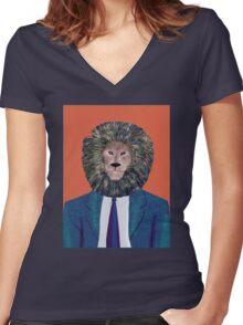 Mr. Lion's portrait Women's Fitted V-Neck T-Shirt