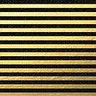 Gold Foil With Black Glitter Stripes by Cherie Balowski