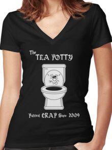 Tea Potty - Political Crap Since 2009 (Version 2) Women's Fitted V-Neck T-Shirt