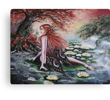 Autumn fall faerie fairy weeping willow, waterlily Canvas Print