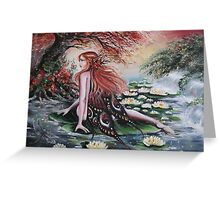 Autumn fall faerie fairy weeping willow, waterlily Greeting Card