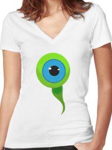 (Not So) Smol Septic Eye Sam Women's Fitted V-Neck T-Shirt