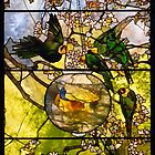parakeets and goldfish bowl . by Lee d&#x27;Entremont