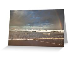 Rainbow on the beach Greeting Card