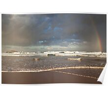 Rainbow on the beach Poster