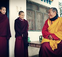 Yangchen, Tenzin and Venerable Khenchen Palden Sherab Rinpoche by dcphotos