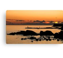 sunset fishing, galway Canvas Print