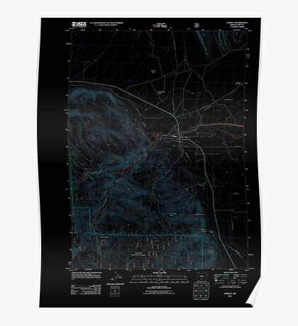 USGS Topo Map Oregon Paisley 20110727 TM Inverted Poster