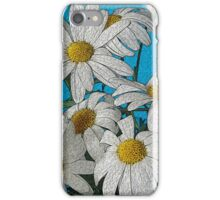 white daisies, painting, wall art, home decor iPhone Case/Skin