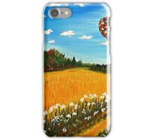 Up and Away, hot air balloons, fall landscape, painting, wall art, home decor iPhone Case/Skin