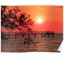 Sunset Fishing Pier Poster