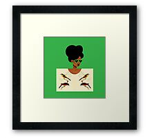 Green Glasses Postcard Girl Framed Print