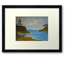 Lighthouse Over Looking the Cove, watercolor Framed Print