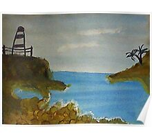 Lighthouse Over Looking the Cove, watercolor Poster