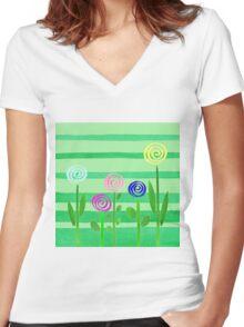 Lollipop Summer Garden Women's Fitted V-Neck T-Shirt