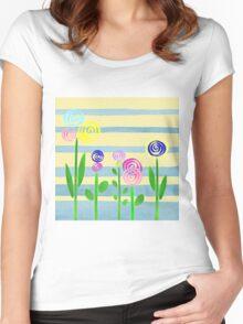 Lollipop Flower Bed Women's Fitted Scoop T-Shirt