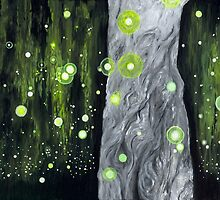 Lightning Bugs Behind a Curtain of Willow Tears by ArtbyJoShmo