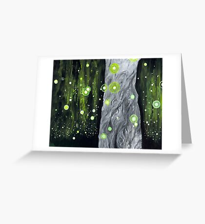 Lightning Bugs Behind a Curtain of Willow Tears Greeting Card