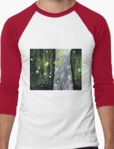 Lightning Bugs Behind a Curtain of Willow Tears Men's Baseball ¾ T-Shirt