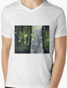 Lightning Bugs Behind a Curtain of Willow Tears Mens V-Neck T-Shirt