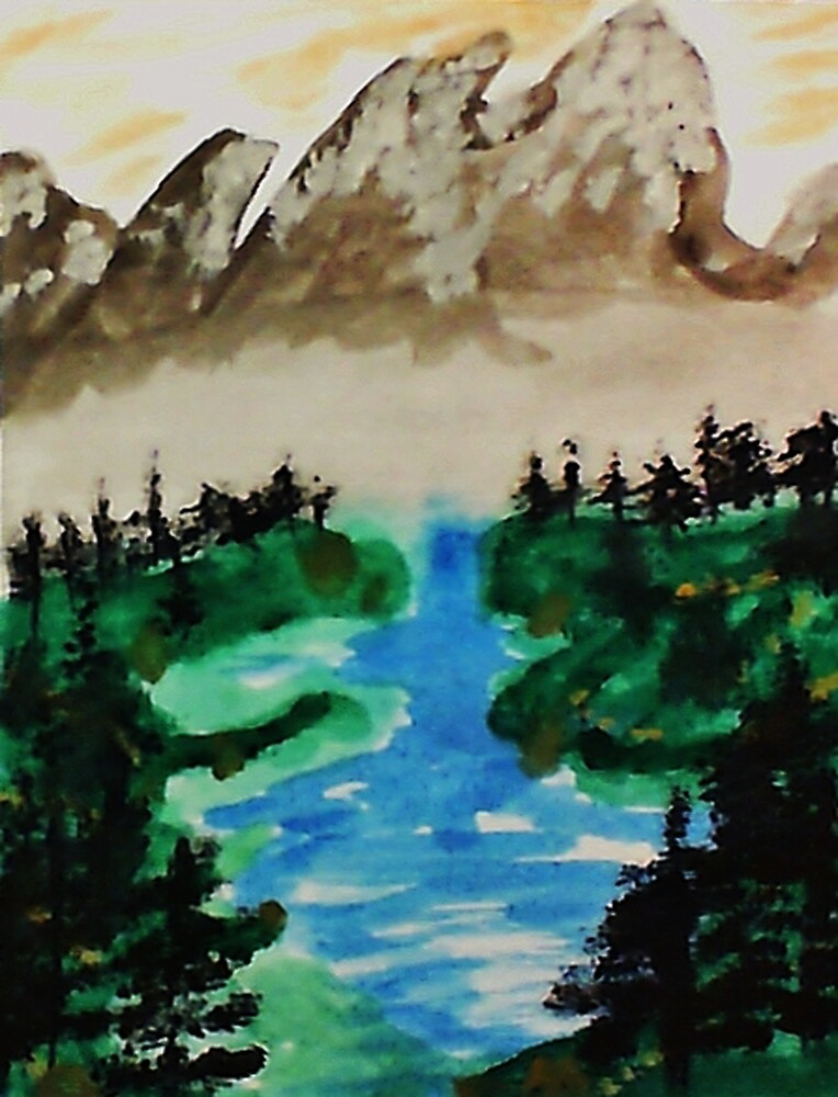 Lake Tahoe 2 of a series, watercolor by Anna  Lewis, blind artist