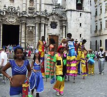 stilt walkers in Cathedral Square  by juliecronin