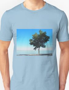 Lonely tree with green leaves on the coast  T-Shirt