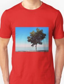Lonely tree with green leaves on the coast  Unisex T-Shirt
