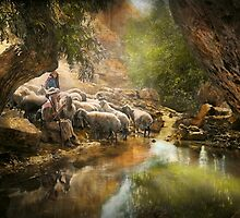 Bible - The Lord is my shepherd - 1910 by Mike  Savad