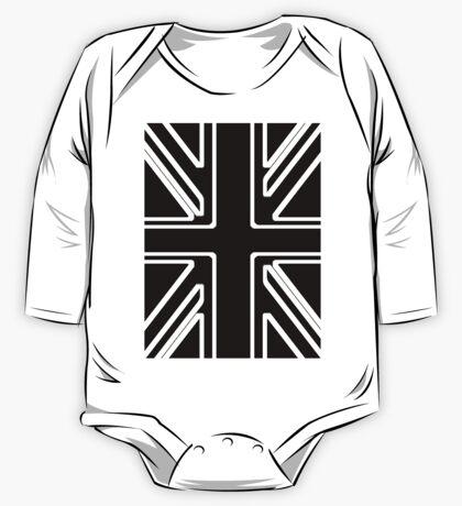 Black & White Union Flag One Piece - Long Sleeve