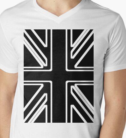 Black & White Union Flag Mens V-Neck T-Shirt