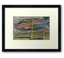Abstract Desert Landscape with reptile snout oil painting Framed Print