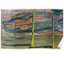 Abstract Desert Landscape with reptile snout oil painting Poster