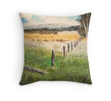 fence and fields Throw Pillow
